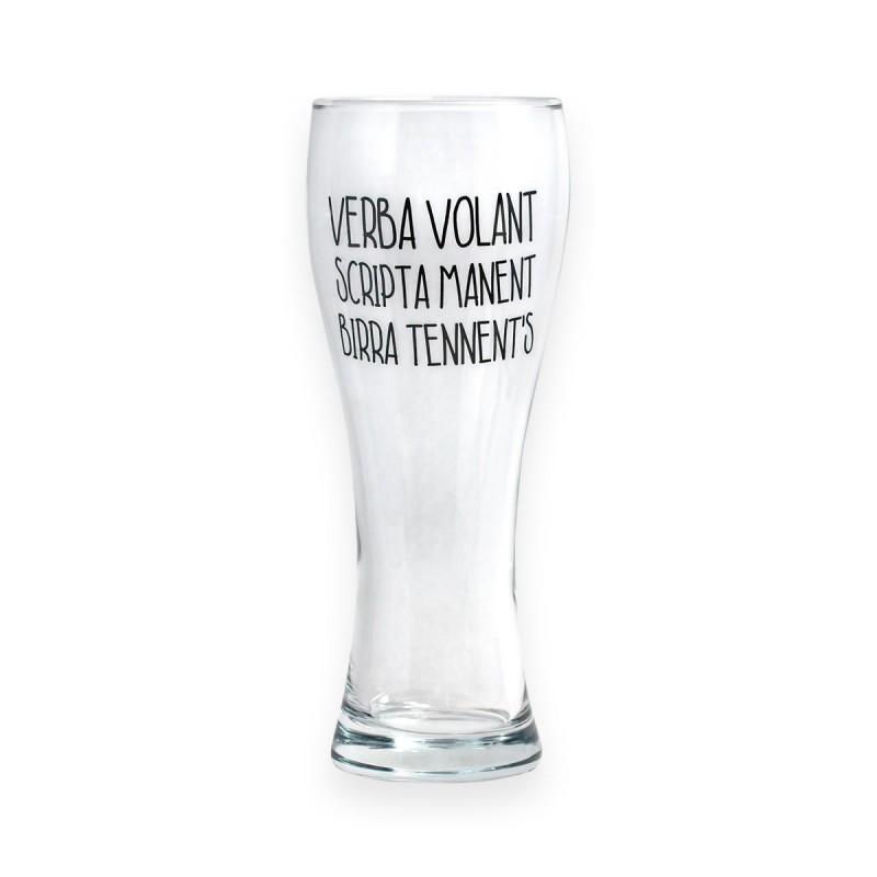 Bicchiere da birra Verba Volant Scripta Manent Birra Tennent's