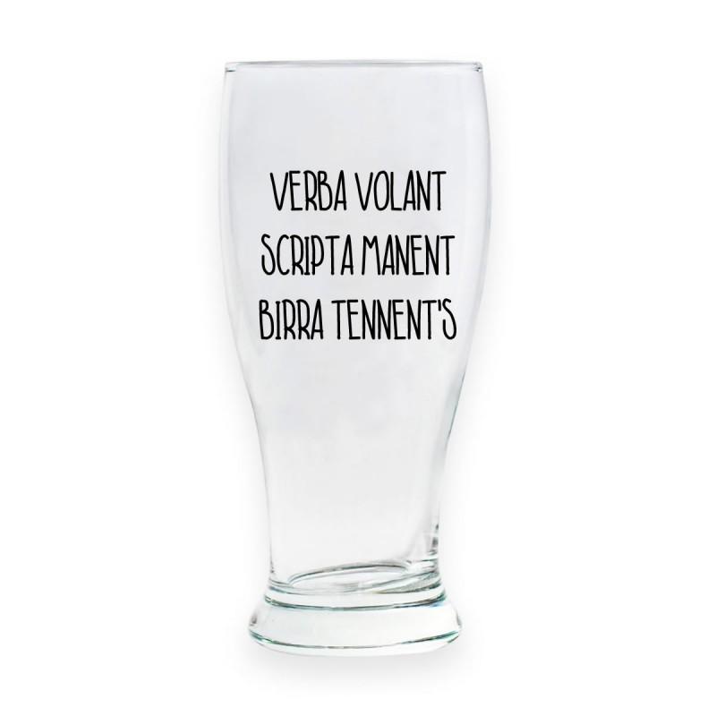 "Bicchiere da birra ""VERBA VOLANT SCRIPTA MANENT BIRRA TENNENT'S"""